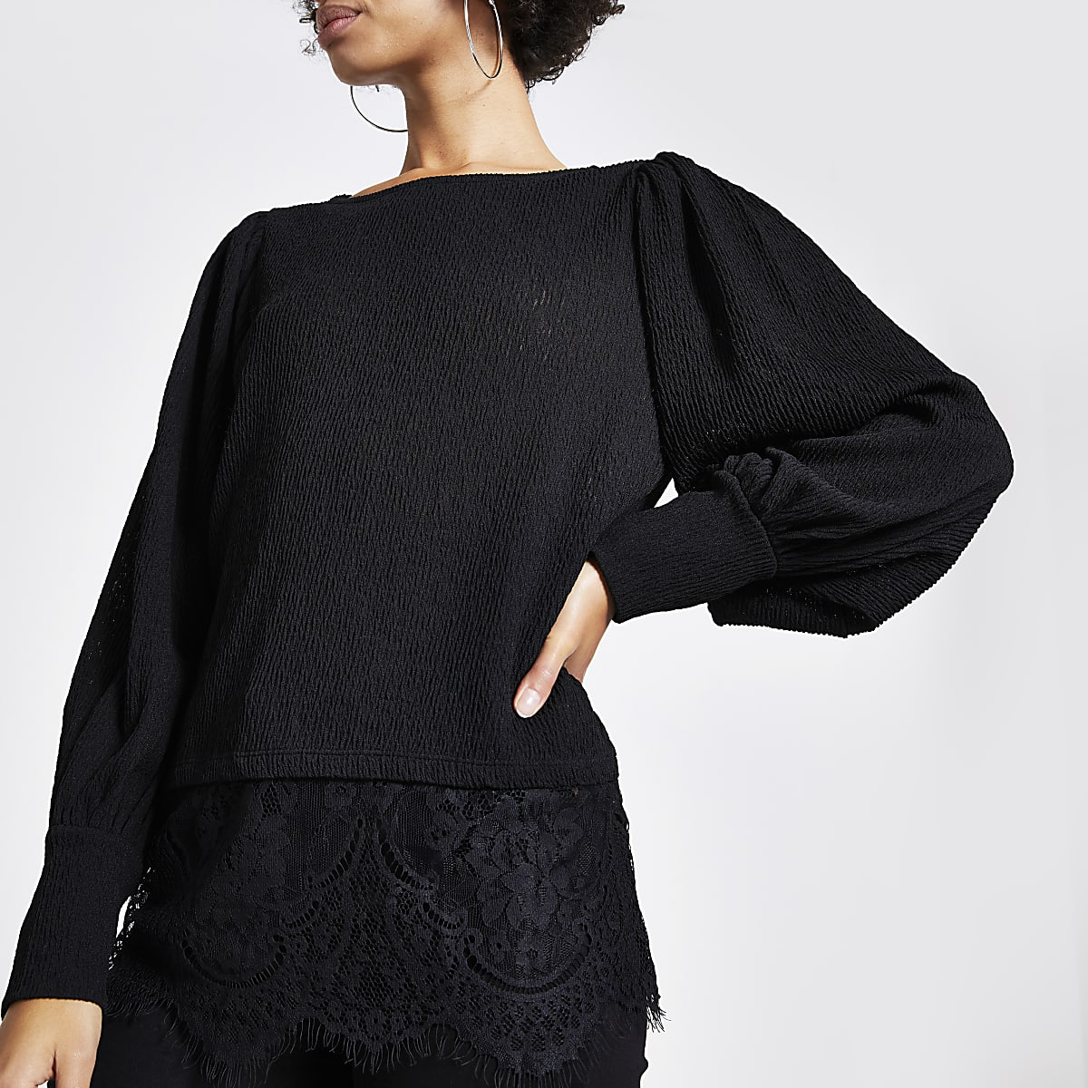 Black textured lace hem blouse