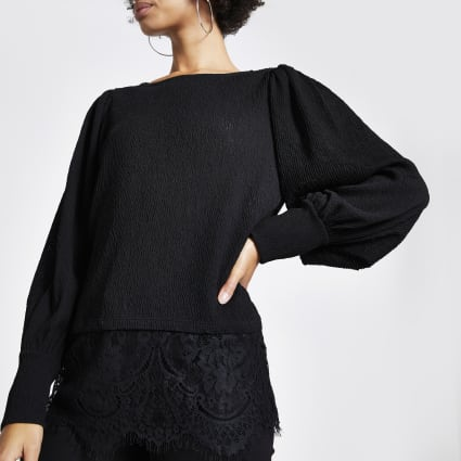 Black textured lace hem blouse
