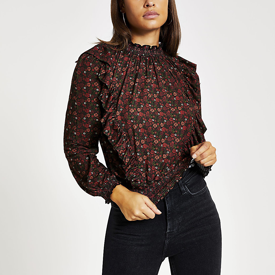 Red floral frill long sleeve shirred top