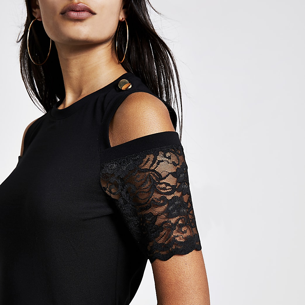 Black cold lace shoulder fitted T-shirt