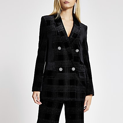 Black velvet check double breasted blazer
