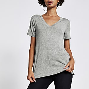 Gemêleerd grijspremium trui-T-shirt met V-hals