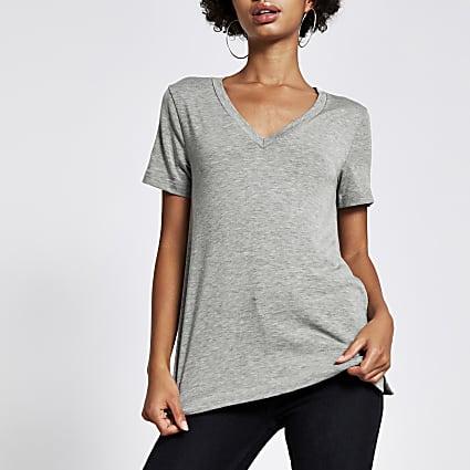 Marl grey premium jersey V neck T-shirt