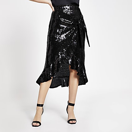 Black sequin wrap frill midi skirt