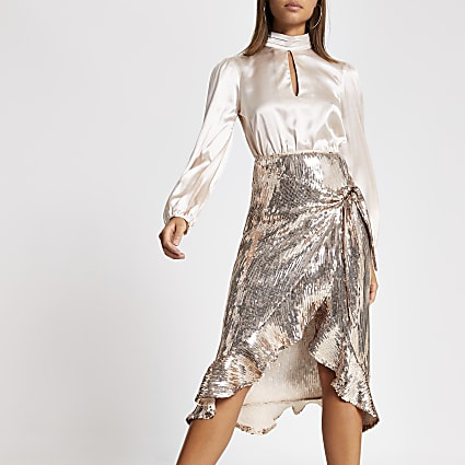 Gold sequin wrap frill midi skirt