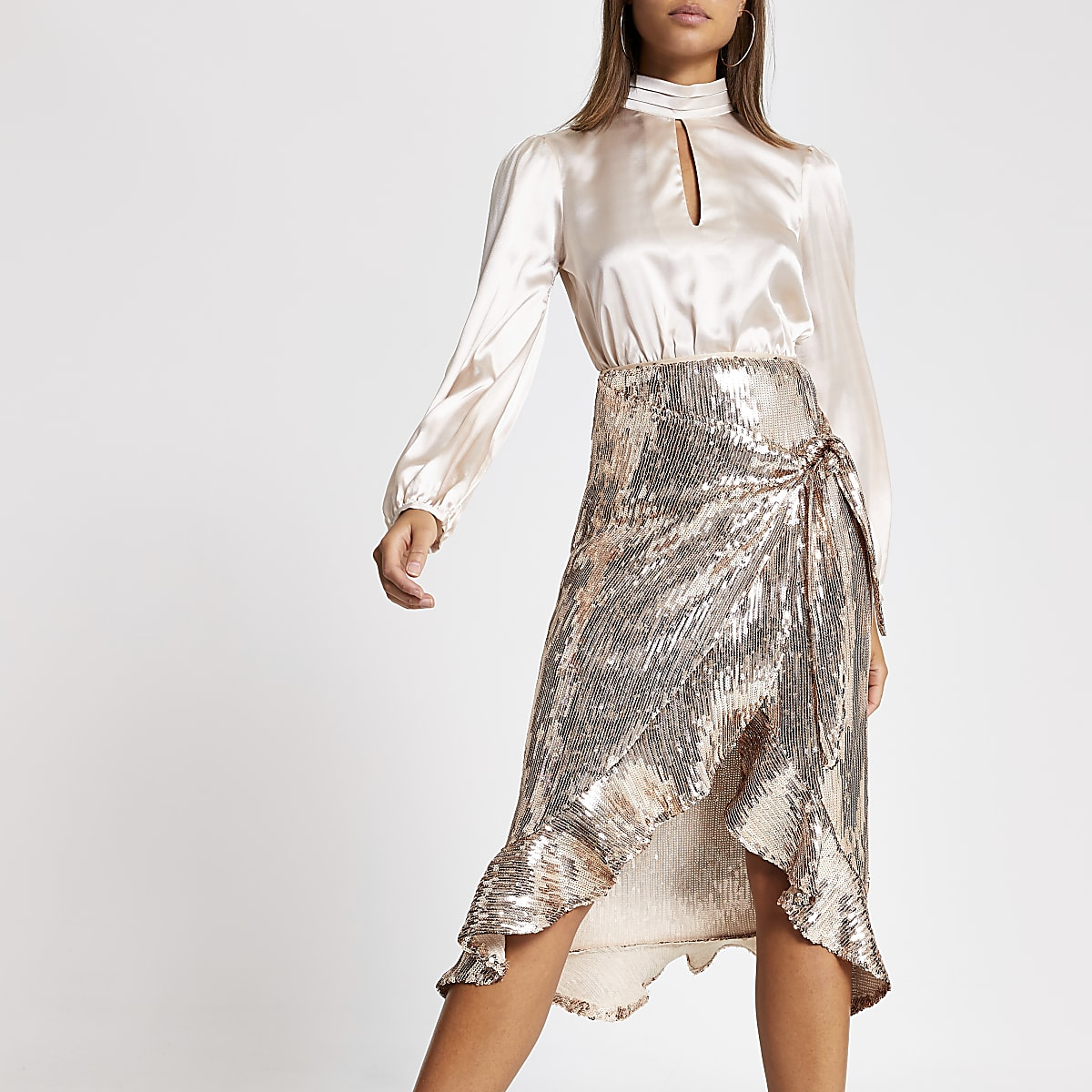 Gold sequin wrap frill midi skirt