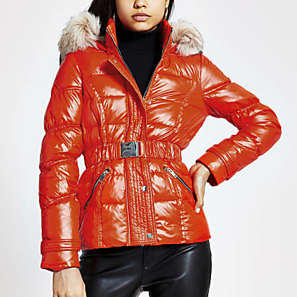 Orange belted faux fur hood padded jacket