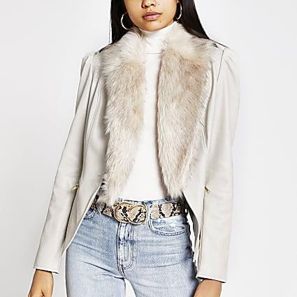 Stone faux fur collar puff sleeve blazer