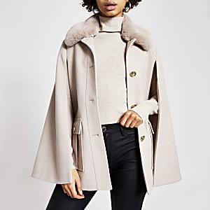 Cream faux fur collar utility cape jacket
