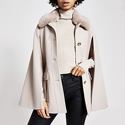 Cream faux fur collar utility cape jacket
