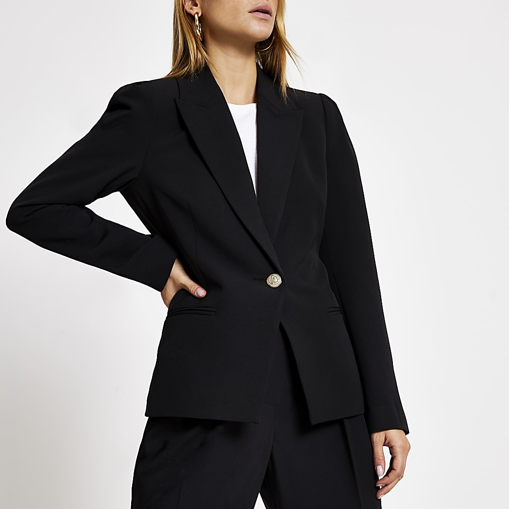 Black puff sleeve single button blazer