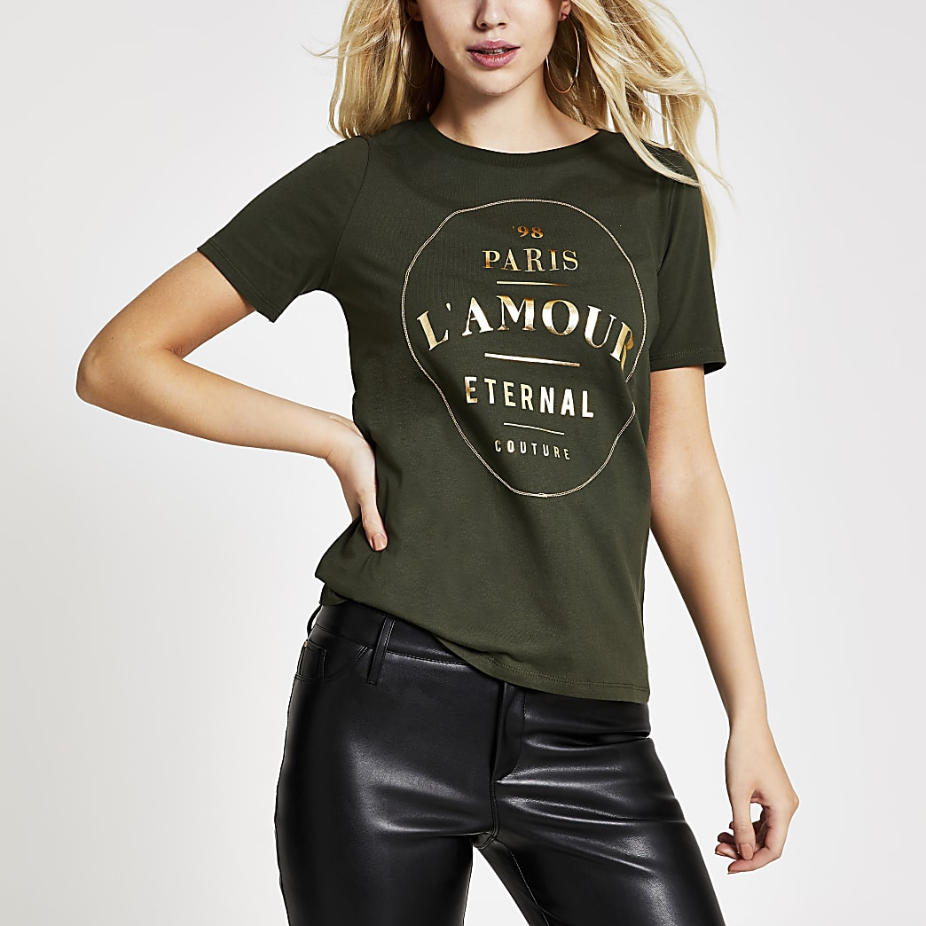 Khaki printed short sleeve fitted T-shirt