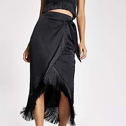 Black fringe satin wrap midi skirt