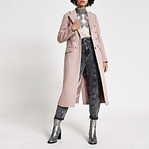 Roze lange jas met wapen knopen voor