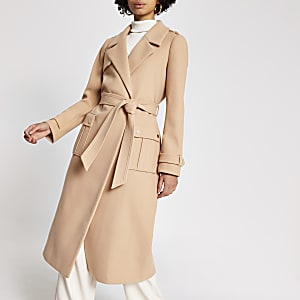 Beige belted longline utility coat