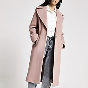 Einreihiger Longline-Mantel in Rosa