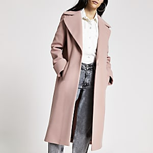 Manteau droit long rose