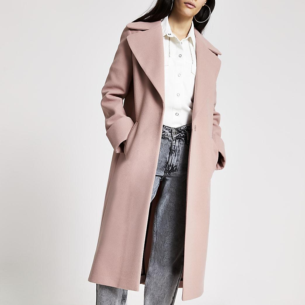 Pink longline single breasted coat