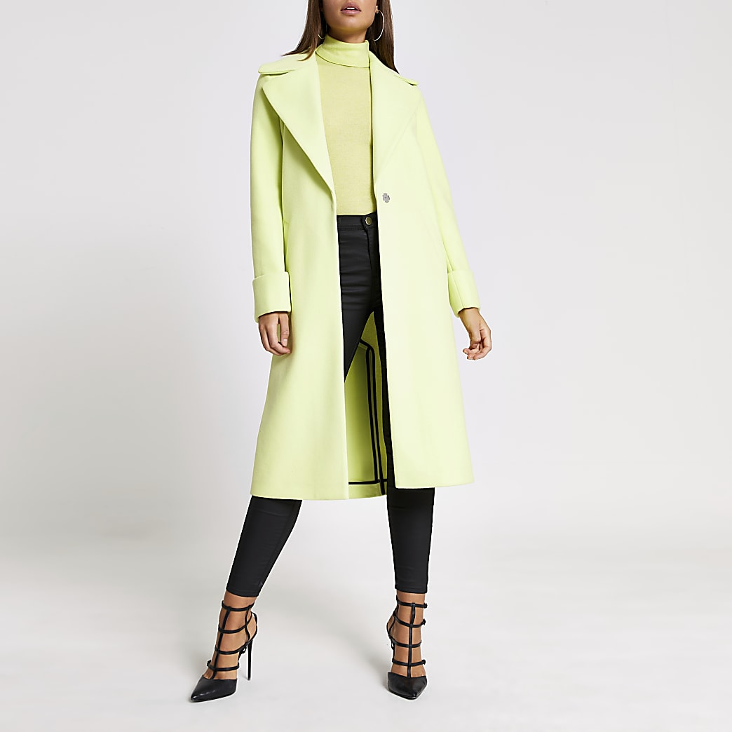 Lime green longline single breasted coat