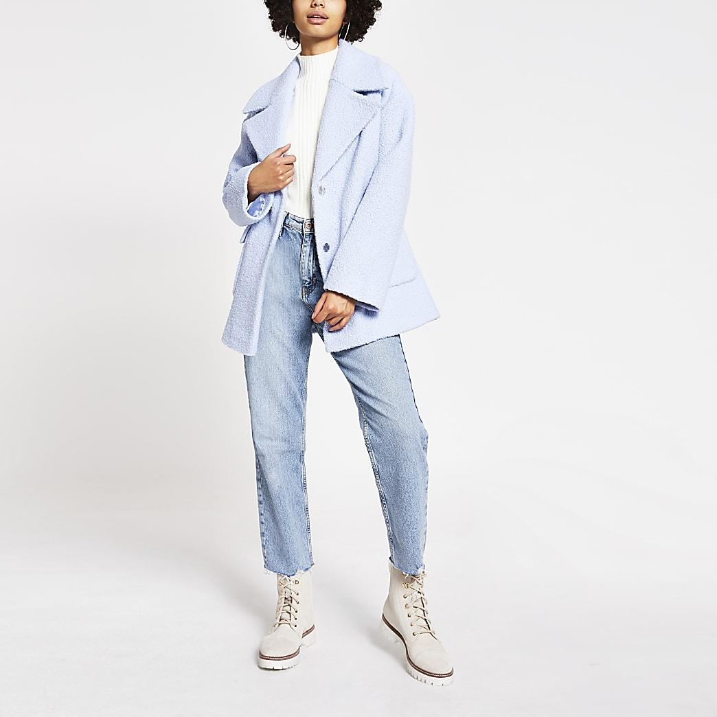 Lichtblauwe wijduitlopende jas van bouclé-stof