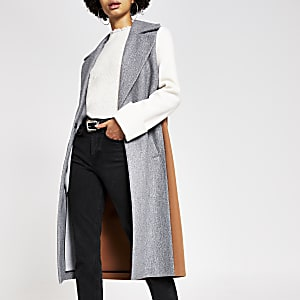 Manteau droit gris colour block