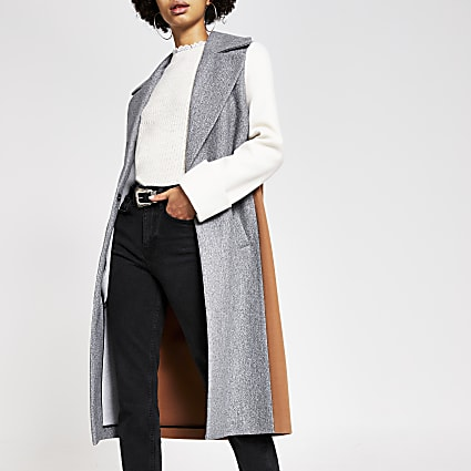 Grey colour block single breasted coat