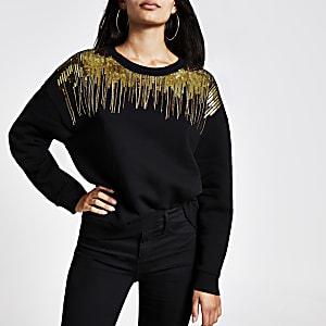 Schwarzes Sweatshirt mit Pailletten-Verzierung