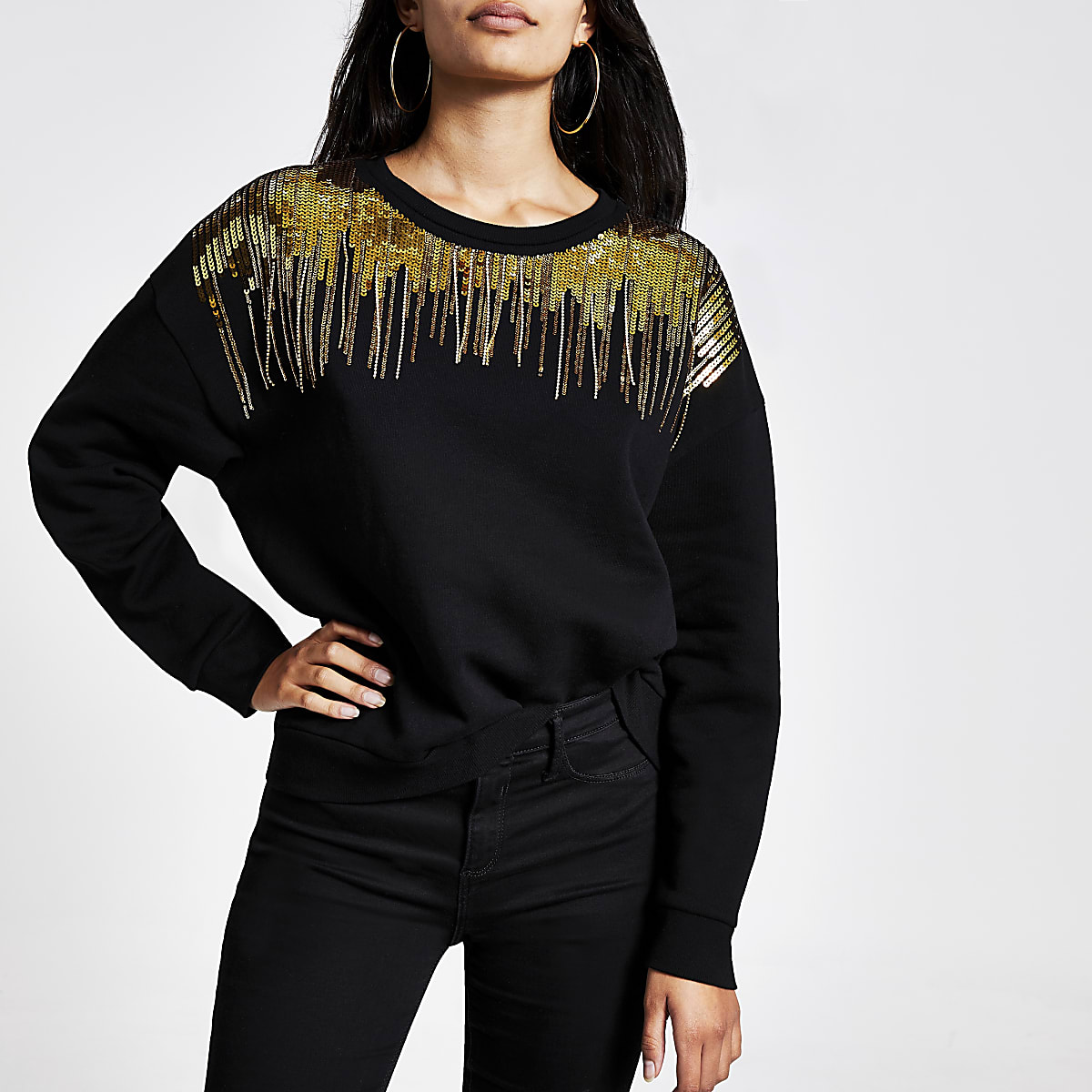 Black embellished neck sweatshirt