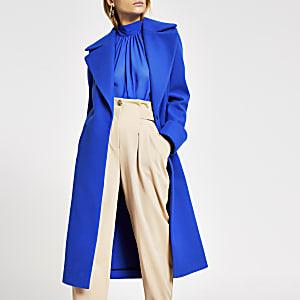 Manteau droit long bleu vif
