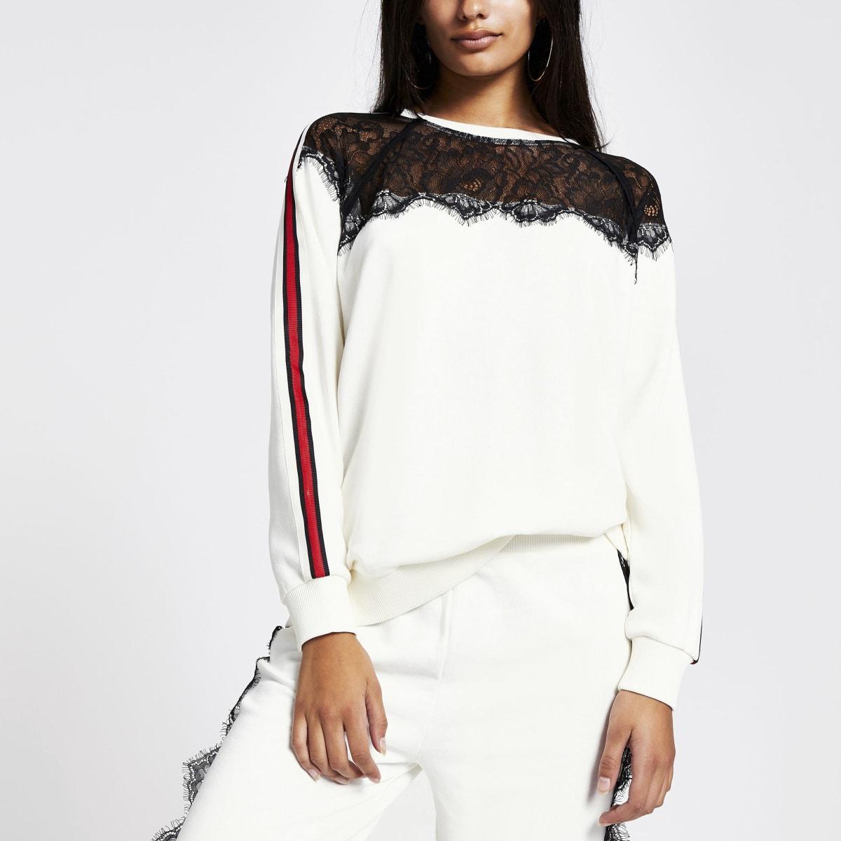 Sweatshirt blanc bandes épaules cordon au col