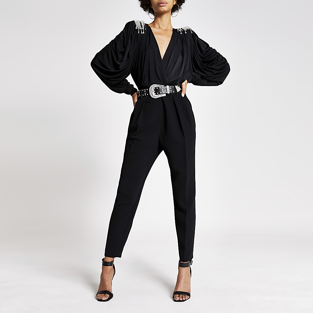 Black diamante shoulder wrap front bodysuit