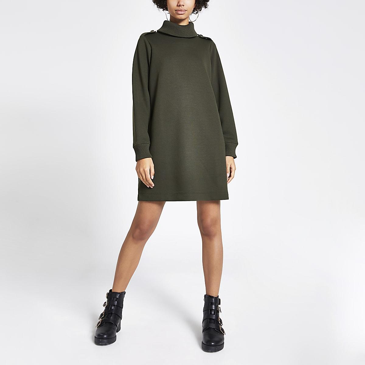 Kaki geribbelde sweatshirt-jurk met col