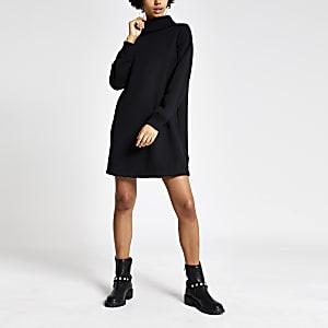 Zwarte geribbelde sweatshirt jurk met col