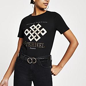 Zwart T-shirt met folieprint en korte mouwen