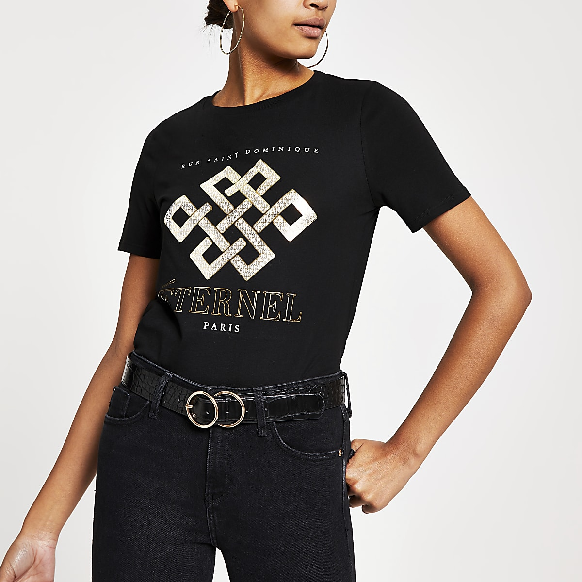 Black foil printed short sleeve T-shirt