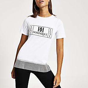 T-shirt blanc impriméavec ourlet en strass