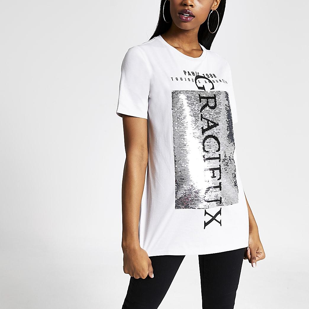Beige printed sequin embellished T-shirt