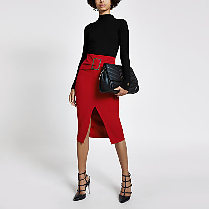 Red buckle front midi pencil skirt