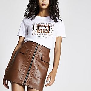 White 'Luxe' glitter print T-shirt