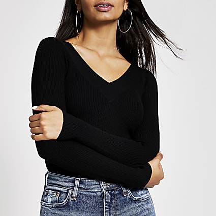Black V neck fitted ribbed knit jumper