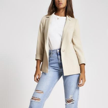 Cream twill rolled sleeve blazer