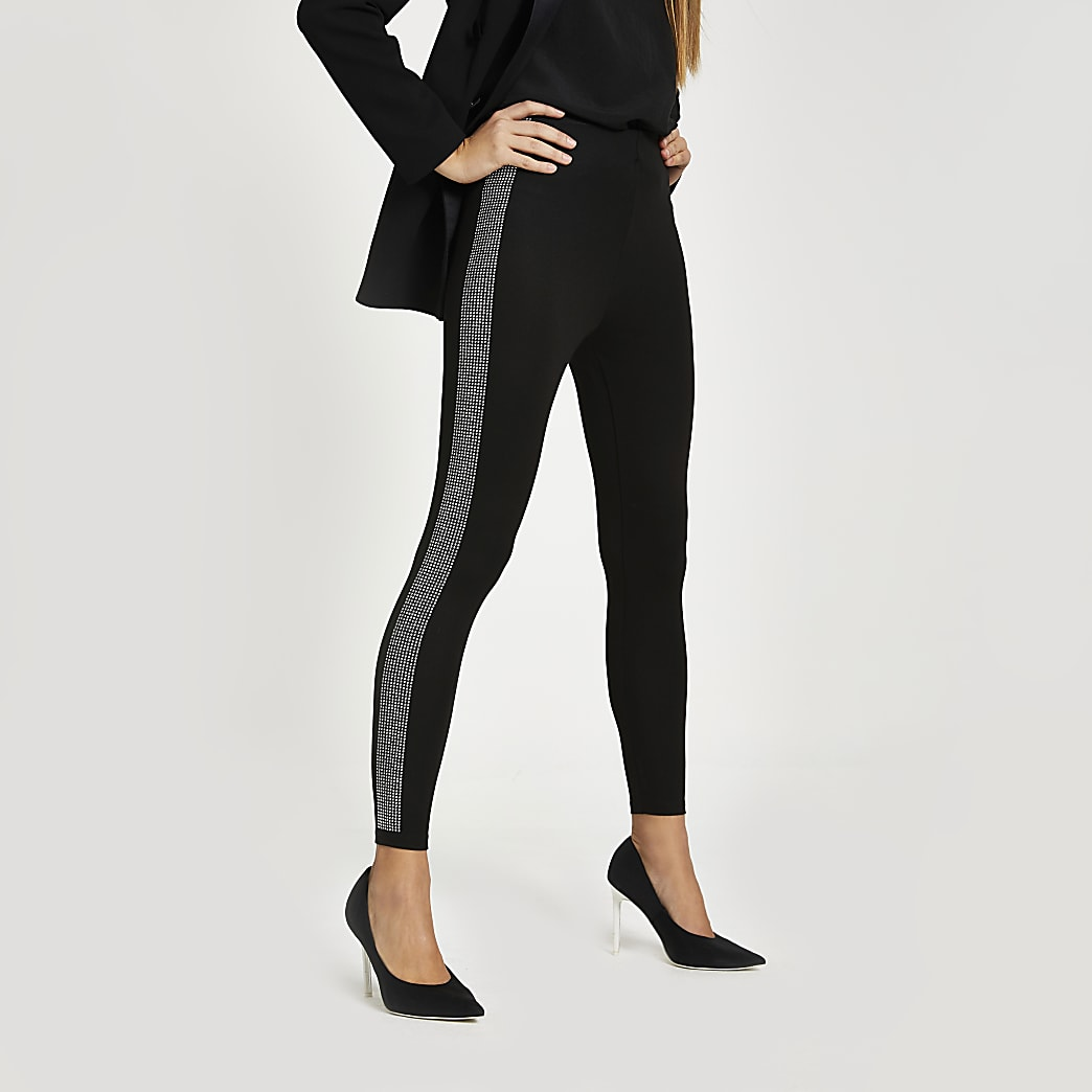 Black diamante side leggings