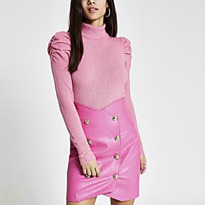 Roze high waist minirok van imitatieleer