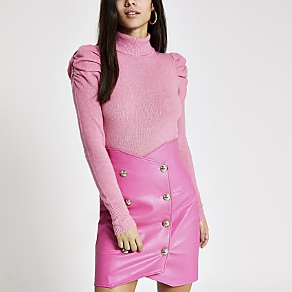 Pink faux leather high waist mini skirt