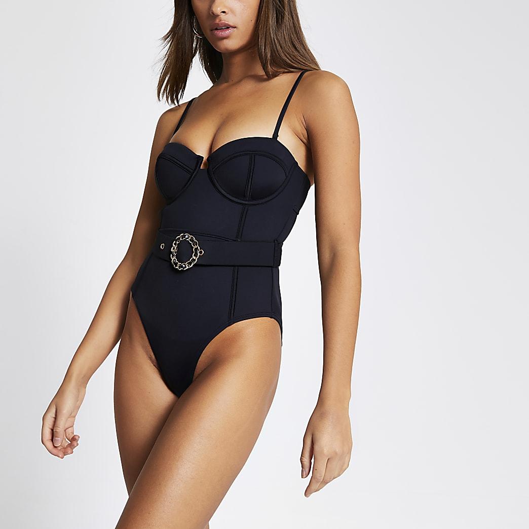 Black balconette belted scuba swimsuit