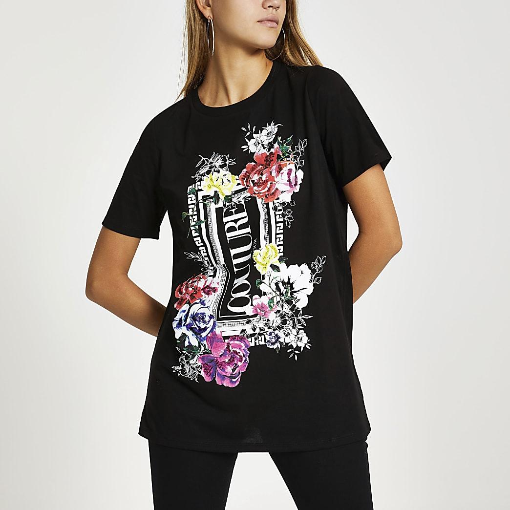 T-shirt boyfriend noir imprimé à fleurs à sequins