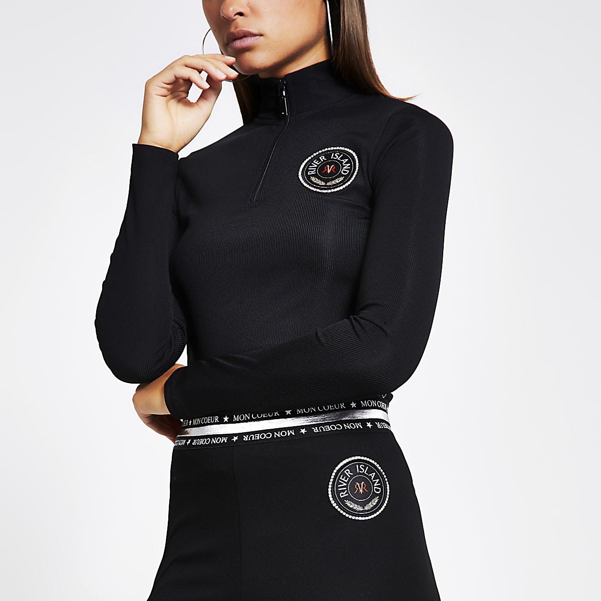 Black tape side half zip ribbed top