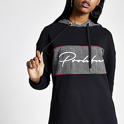 Black check Prolific blocked hoodie
