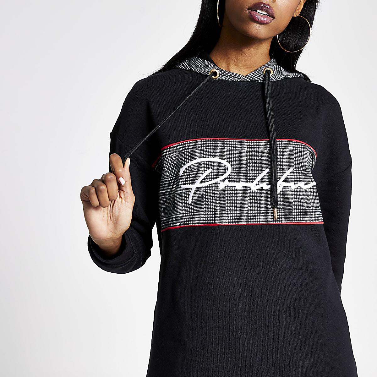 Prolific - Zwarte geruite hoodie met vlakken