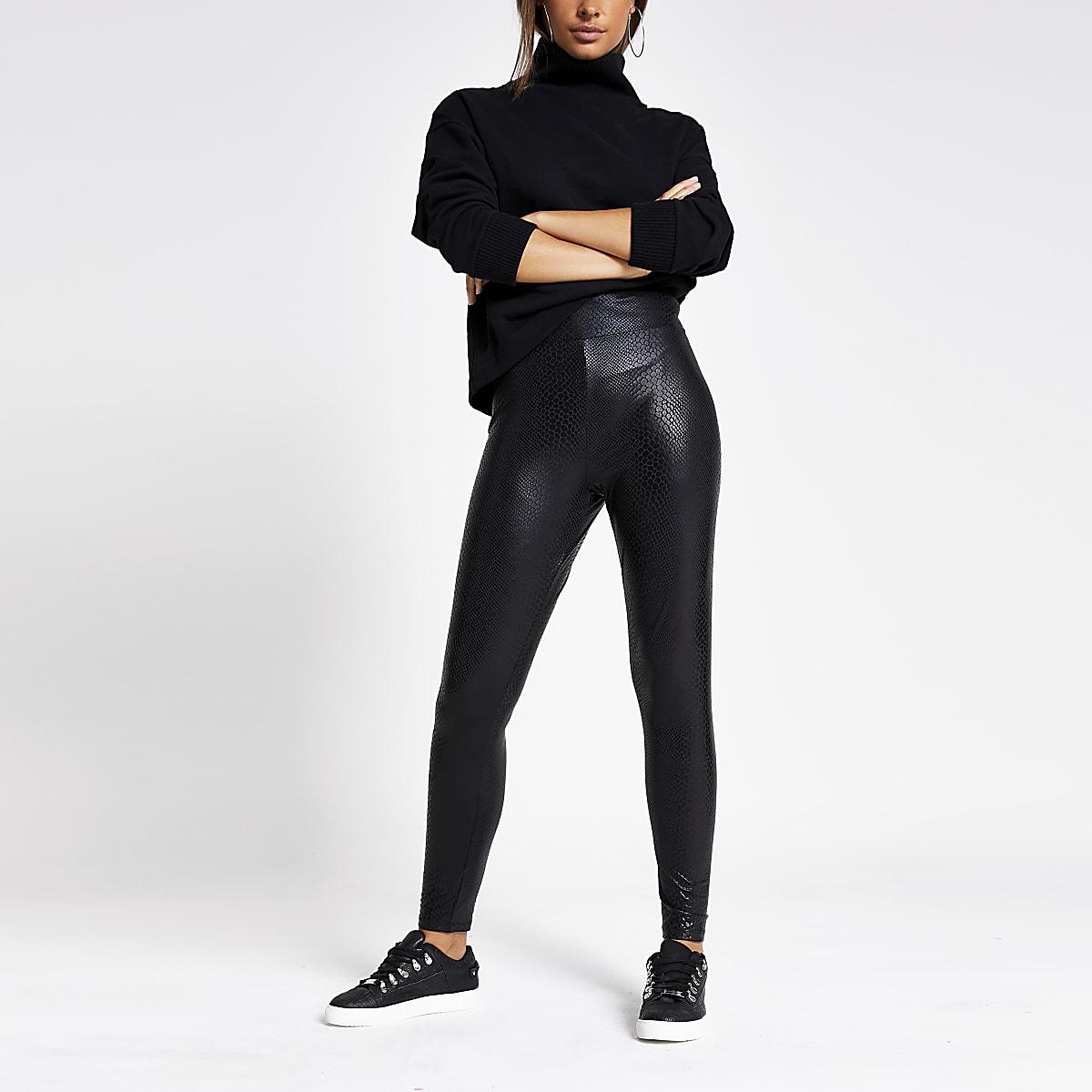 Black snake printed coated leggings